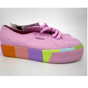 Superga 1/2 Platform Lace-Up Sneaker Rainbow Pink